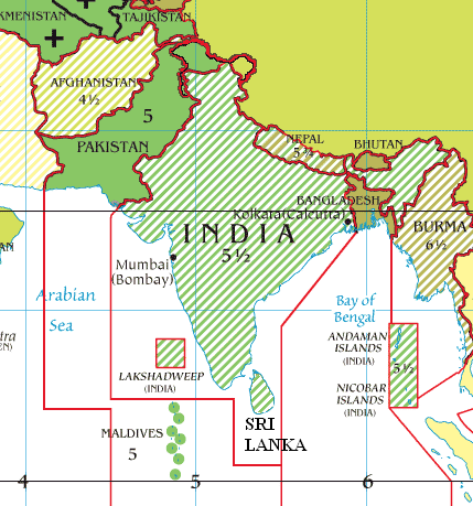 Map Of Asia Time Zones.Indian Standard Time Ist Trivia Serendip In
