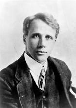 Robert Frost, head-and-shoulders portrait, facing front (Source: Wikipedia)